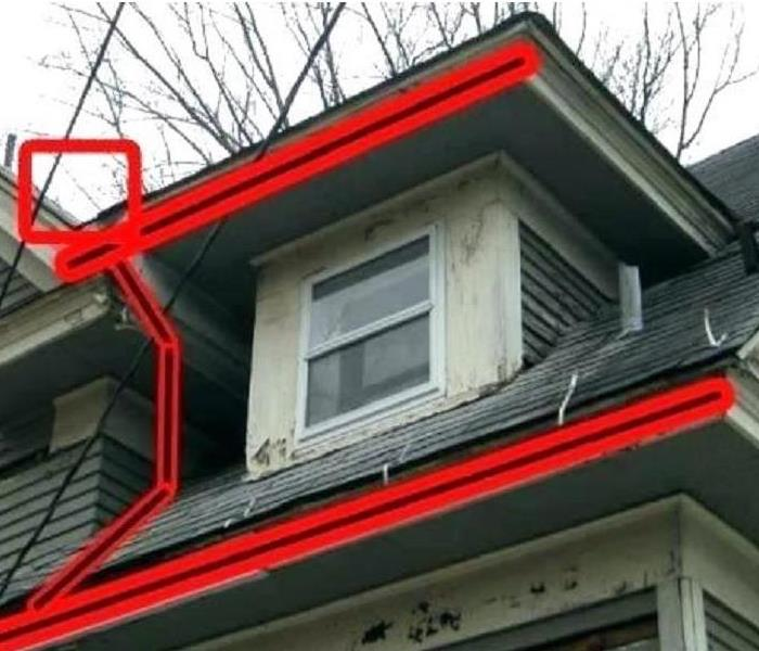 red lines highlighting problematic areas with gutters on a roof.